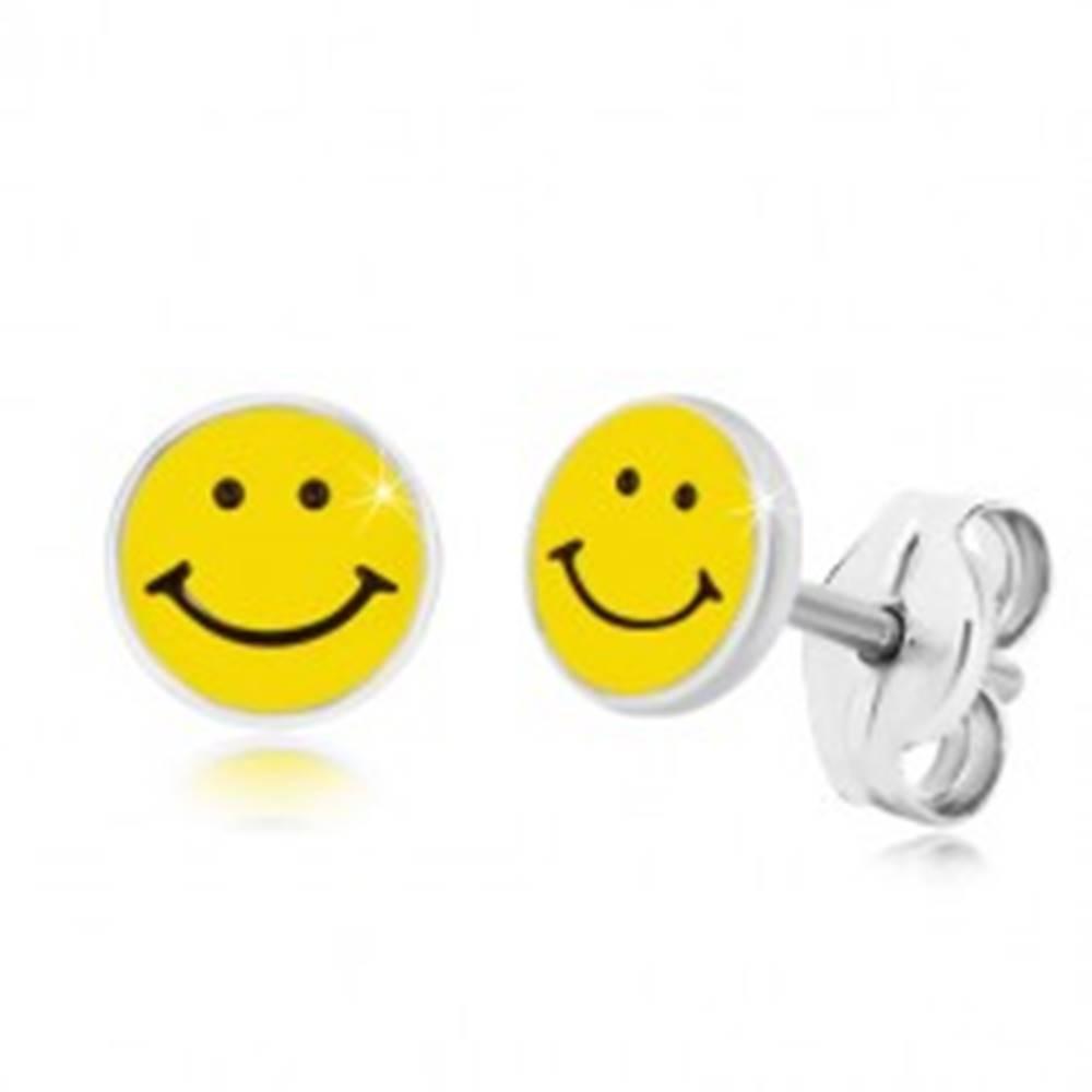 Šperky eshop Náušnice zo striebra 925 - usmievavý smajlík, čierno-žltá glazúra, puzetky