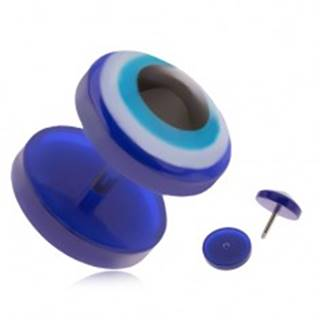 Okrúhly akrylový fake plug do ucha, modré oko