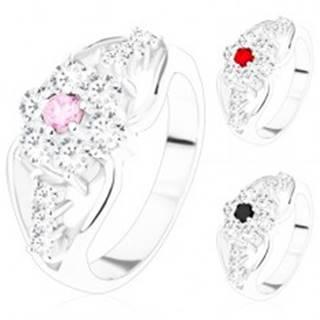 Prsteň so zirkónovým kvetom a rozdelenými ramenami, trojice čírych zirkónov - Veľkosť: 51 mm, Farba: Ružová