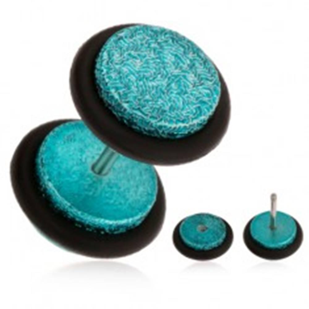 Šperky eshop Tyrkysový fake plug do ucha z akrylu, pieskovaný povrch, gumičky