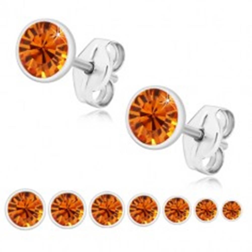 Šperky eshop Strieborné 925 náušnice - žiarivý medovo oranžový zirkón v objímke, puzetky - Veľkosť zirkónu: 2 mm