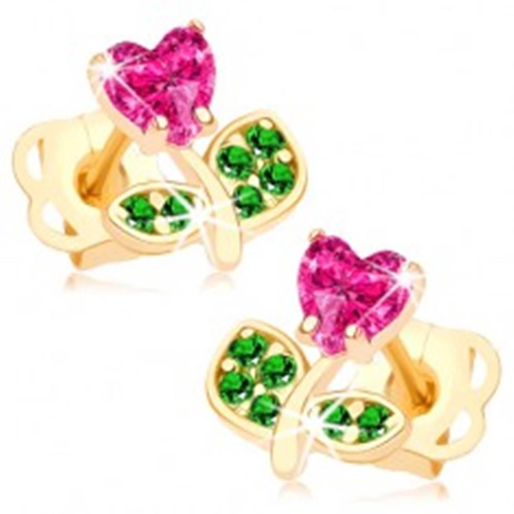 Šperky eshop Náušnice zo žltého 14K zlata - kvietok zdobený ružovým a zelenými zirkónmi