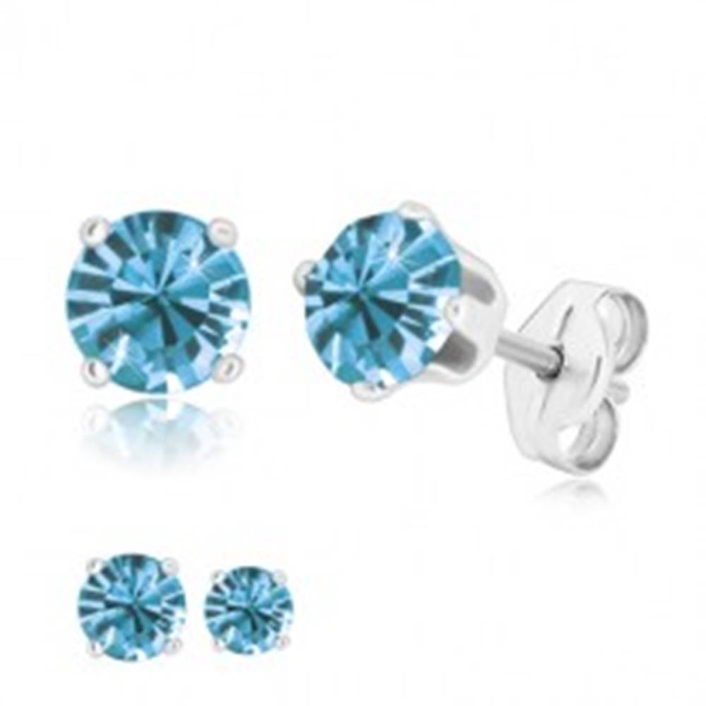 Šperky eshop Puzetové náušnice - žiarivý zirkón v kotlíku, nebeská modrá, striebro 925 - Veľkosť zirkónu: 4 mm