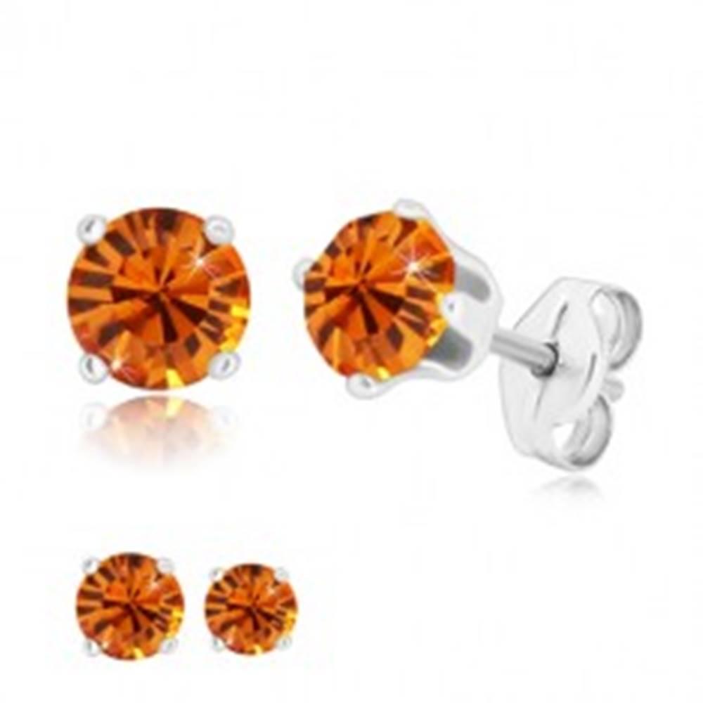 Šperky eshop Strieborné náušnice 925 - okrúhly trblietavý zirkón v medovo oranžovom odtieni - Veľkosť zirkónu: 4 mm