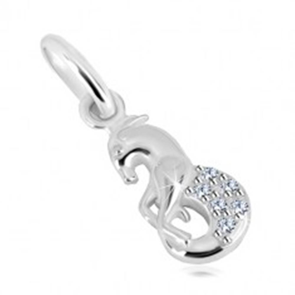 Šperky eshop Strieborný 925 prívesok, žiarivé zirkóny, znamenie zverokruhu - KOZOROŽEC