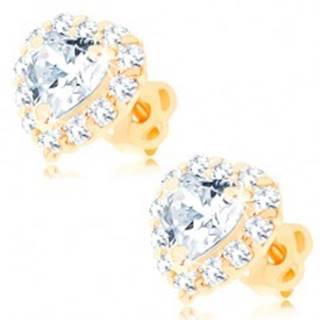 Náušnice zo žltého 14K zlata - číre srdce lemované okrúhlymi zirkónikmi