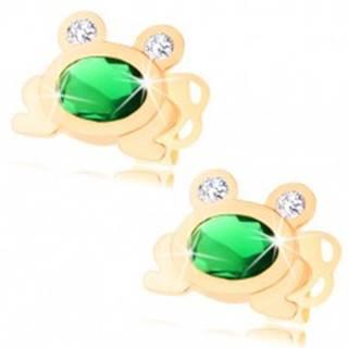 Zlaté náušnice 585 - malá ligotavá žabka so zeleným oválom a čírymi očami