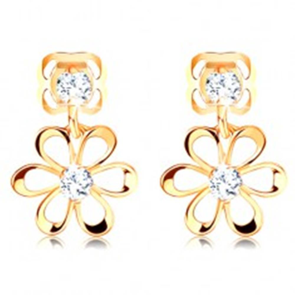 Šperky eshop Náušnice v žltom 14K zlate - kvietok s oblými lupeňmi, zirkóniky čírej farby