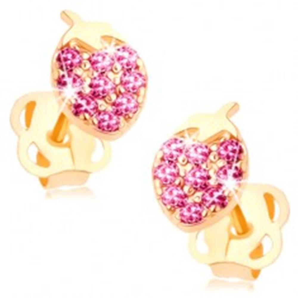 Šperky eshop Náušnice v žltom 14K zlate - ligotavá jahôdka vykladaná ružovými zirkónmi