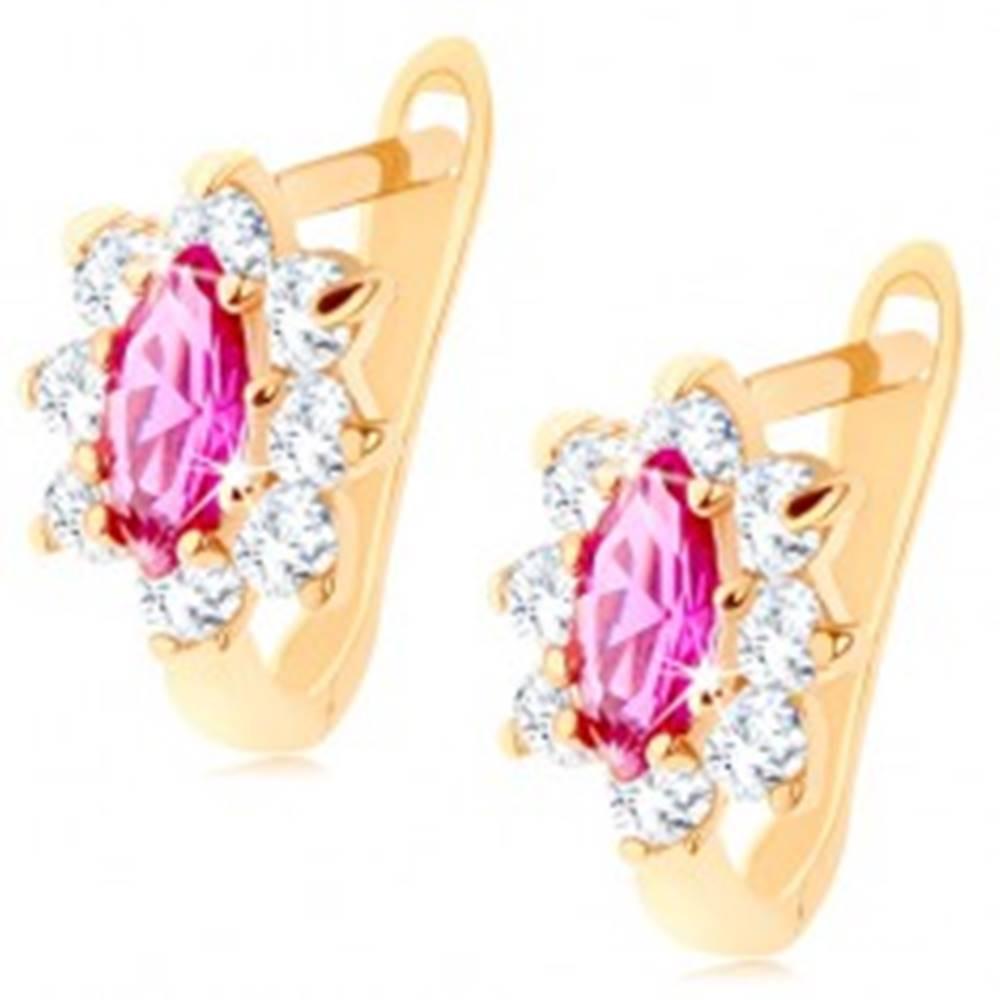 Šperky eshop Náušnice zo žltého 14K zlata - kvet z ružového syntetického rubínu a čírych zirkónov