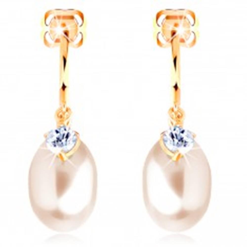 Šperky eshop Náušnice zo žltého 14K zlata - lesklý polkruh s čírym zirkónom, visiaca perla