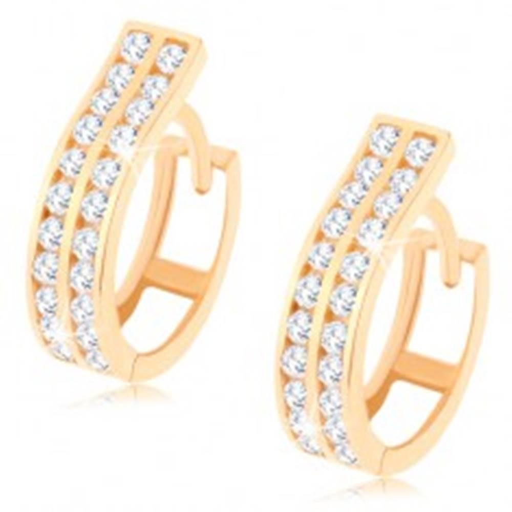 Šperky eshop Okrúhle náušnice v žltom 14K zlate - dva pásy vykladané zirkónmi čírej farby