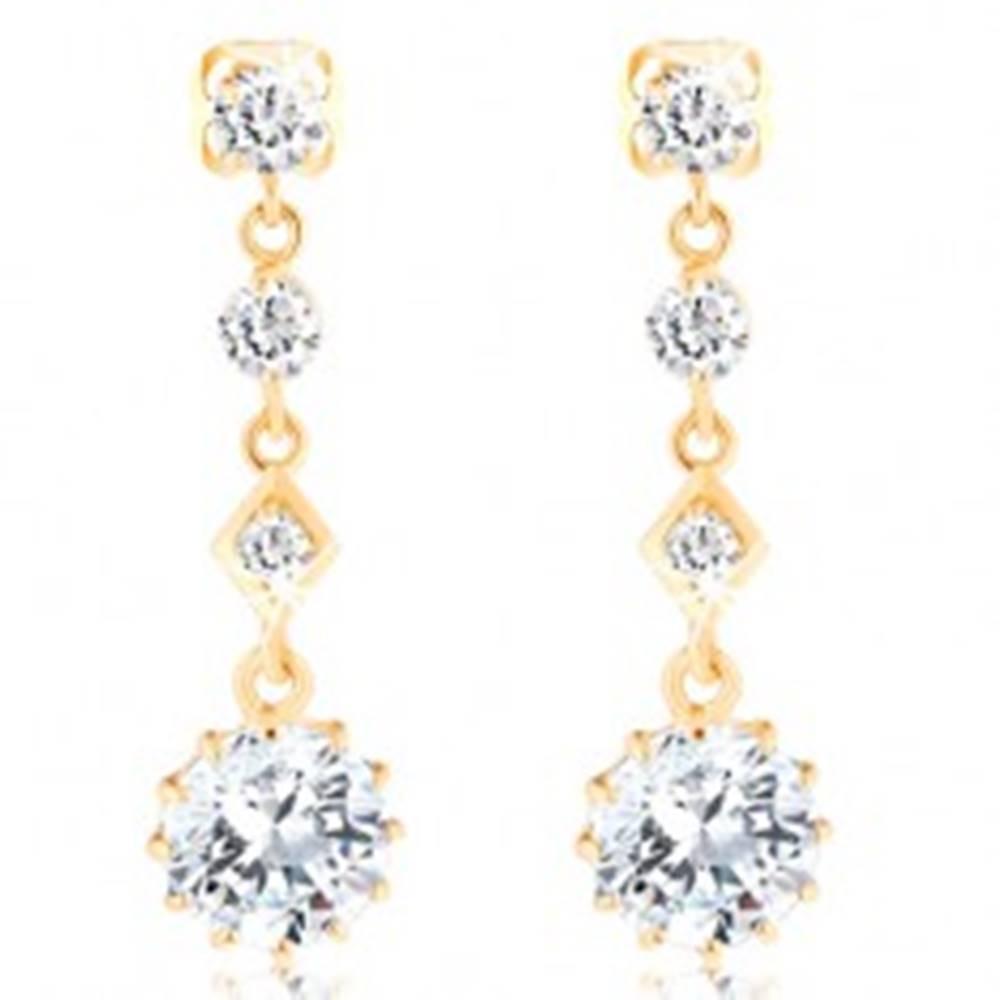 Šperky eshop Visiace zlaté náušnice 585 - štyri ligotavé zirkóny čírej farby, puzetky
