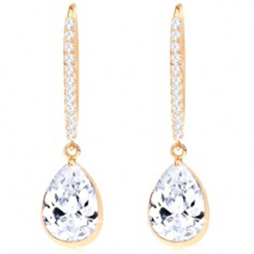 Šperky eshop Zlaté náušnice 585 - trblietavý oblúčik, visiaca číra zirkónová kvapka