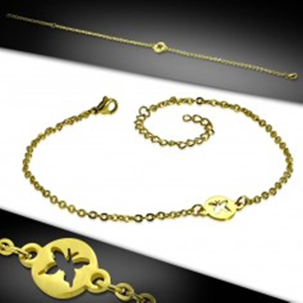 Šperky eshop Oceľový náramok v zlatom farebnom prevedení - krúžok s výrezom motýľa