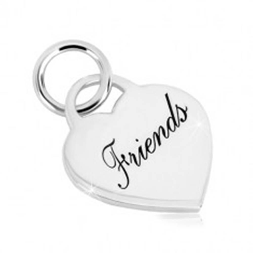 """Šperky eshop Strieborný 925 prívesok - srdcový zámok s nápisom """"Friends"""", zrkadlovolesklý povrch"""