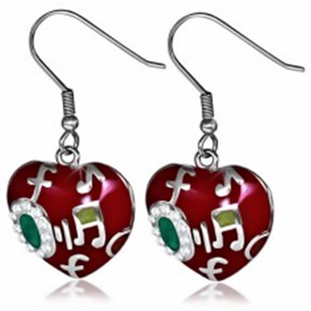 Šperky eshop Oceľové náušnice, tmavočervené glazúrované srdce, noty
