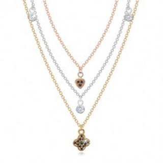 Strieborný náhrdelník 925 - trojfarebné retiazky s príveskami, číre a čierne zirkóny