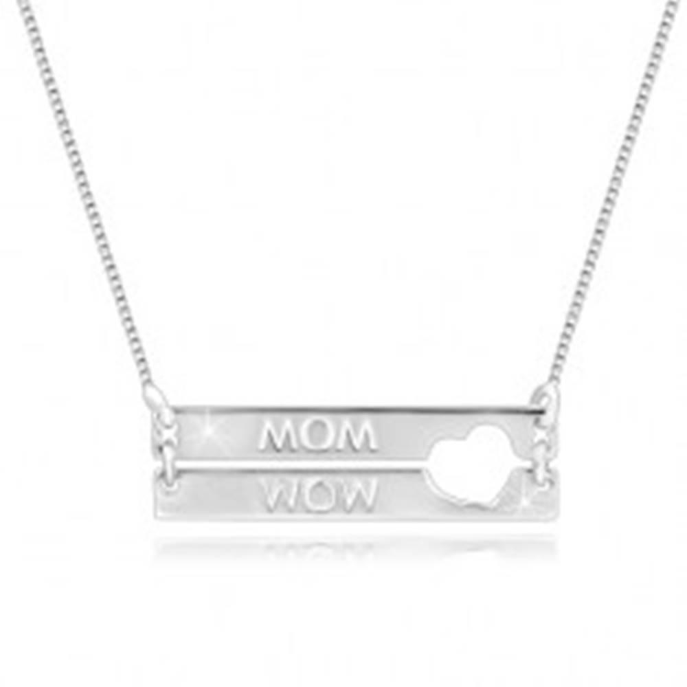 """Šperky eshop Náhrdelník zo striebra 925 - obdĺžniky so srdiečkovým výrezom, nápis """"MOM"""""""