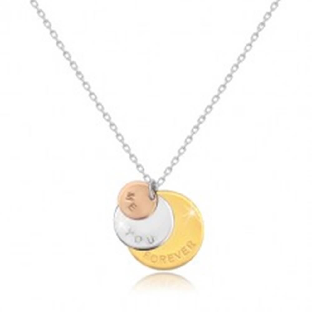 """Šperky eshop Náhrdelník zo striebra 925 - trojfarebné krúžky """"ME YOU FOREVER"""", ligotavá retiazka"""
