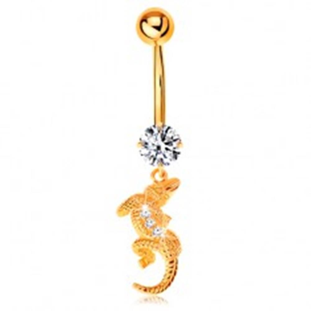 Šperky eshop Piercing do pupku v žltom 14K zlate - číry zirkón, malý krokodíl so zahnutým telom