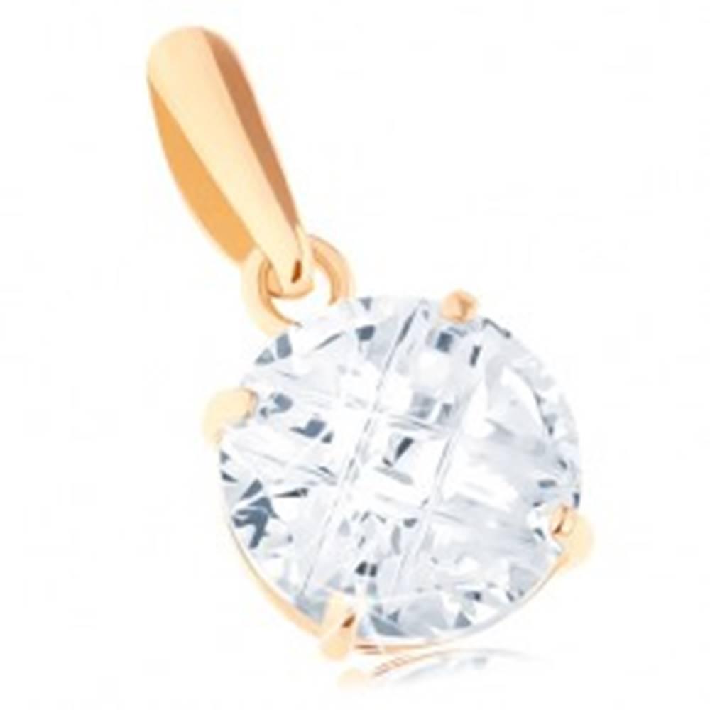 Šperky eshop Prívesok v žltom 14K zlate - číry okrúhly zirkón, šikmé zárezy, 7 mm
