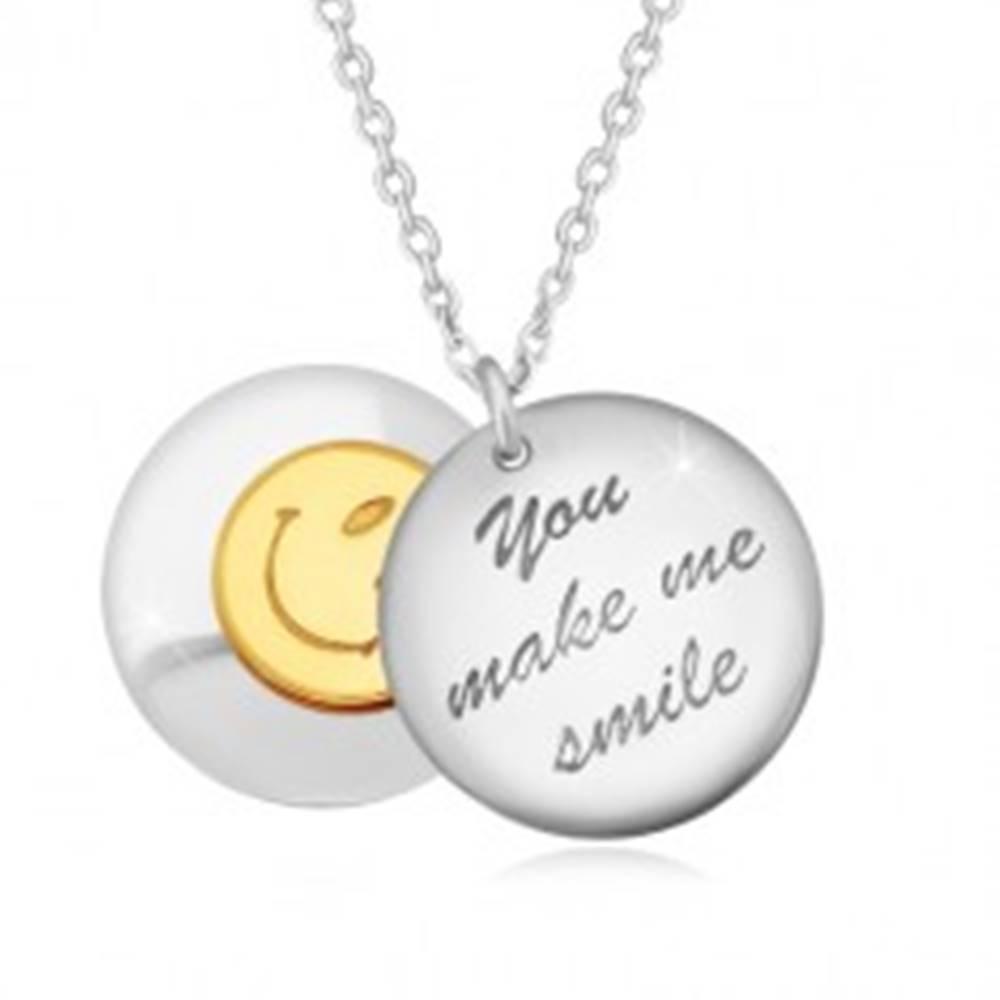 """Šperky eshop Strieborný 925 náhrdelník - dva vypuklé kruhy, nápis """"You make me smile"""", smajlík"""