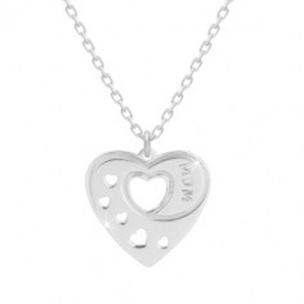"Šperky eshop Strieborný 925 náhrdelník - pravidelné srdce so srdiečkovými výrezmi, nápis ""MUM"""