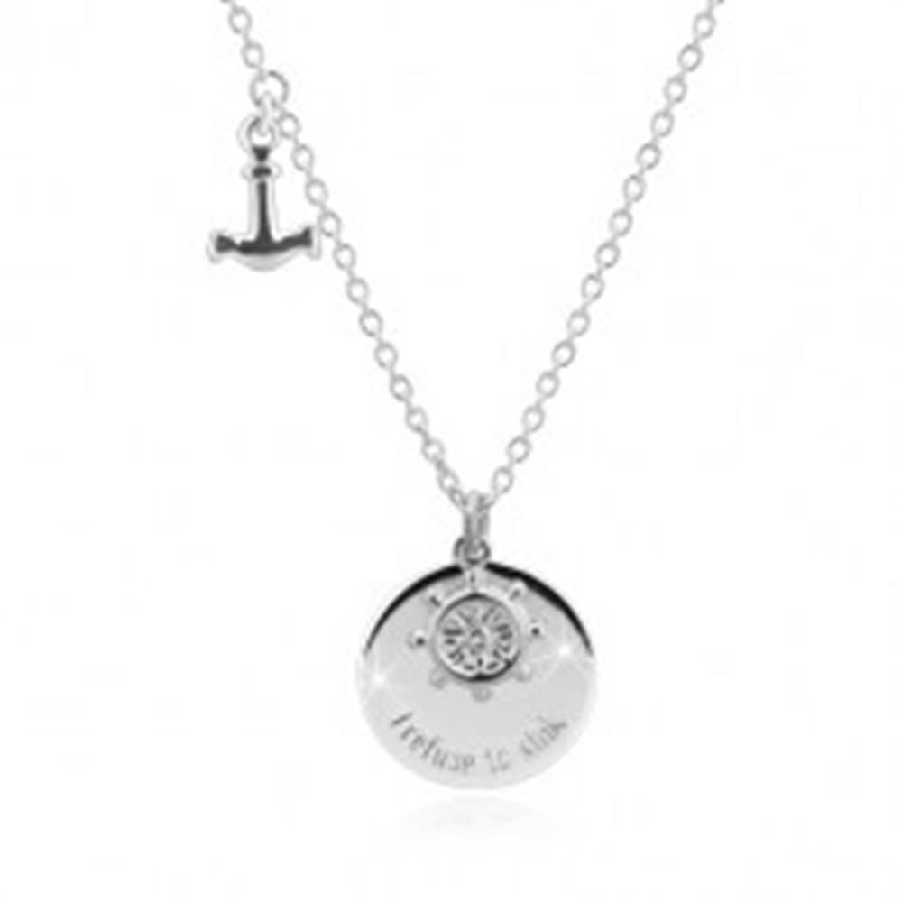 """Šperky eshop Strieborný náhrdelník 925 - kotva, kormidlo, lesklý kruh s nápisom """"I refto sink"""""""