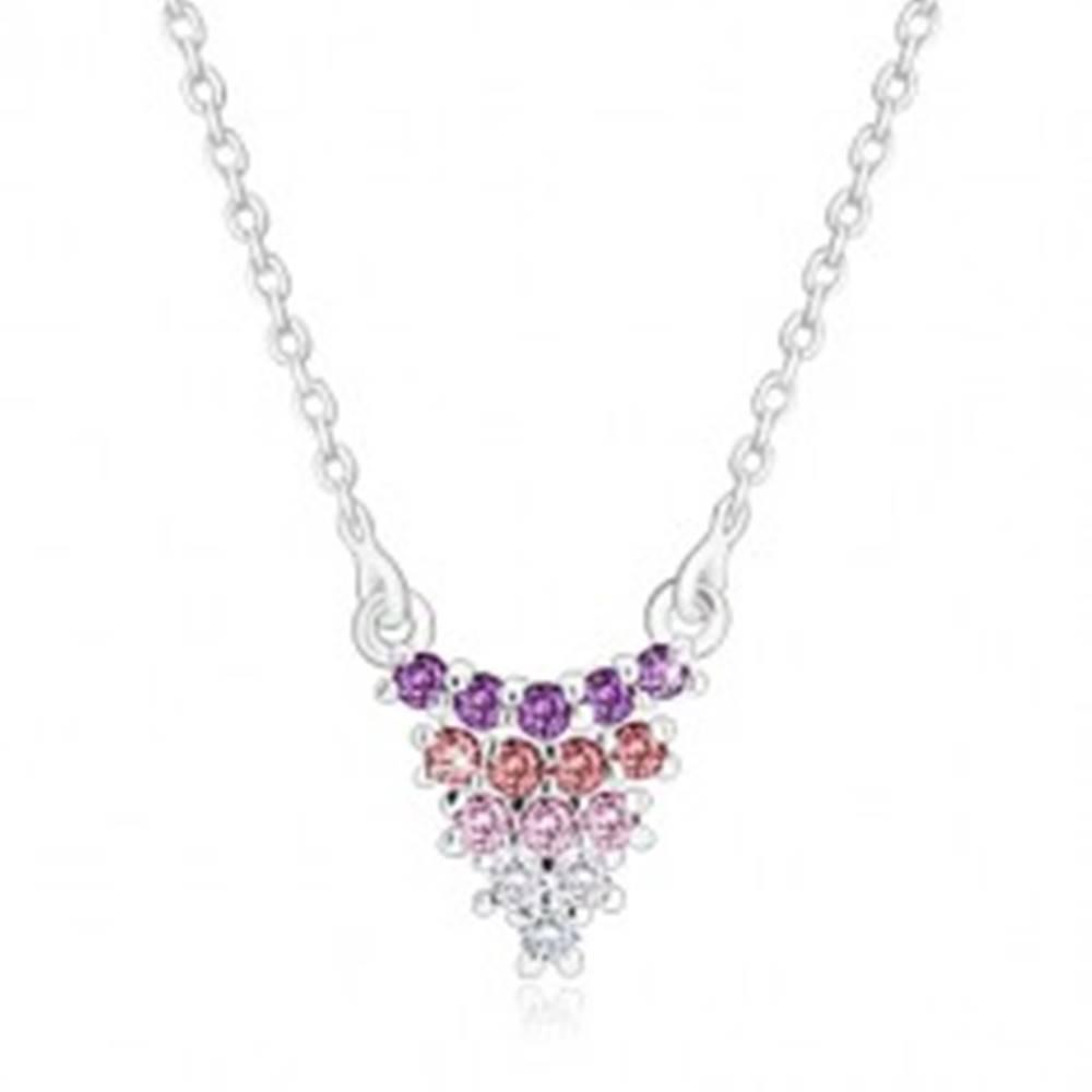 Šperky eshop Strieborný náhrdelník 925 - strapec hrozna na retiazke, zirkóny, farebný prechod