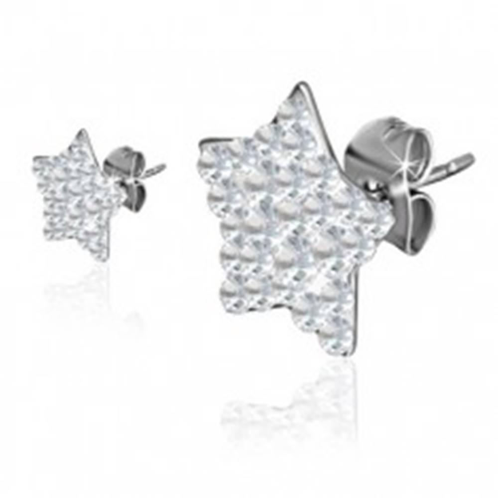 Šperky eshop Puzetové oceľové náušnice, číre zirkónové hviezdy