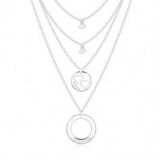 Strieborný náhrdelník 925 - štyri retiazky s príveskami, kruhy a srdiečka, nápisy