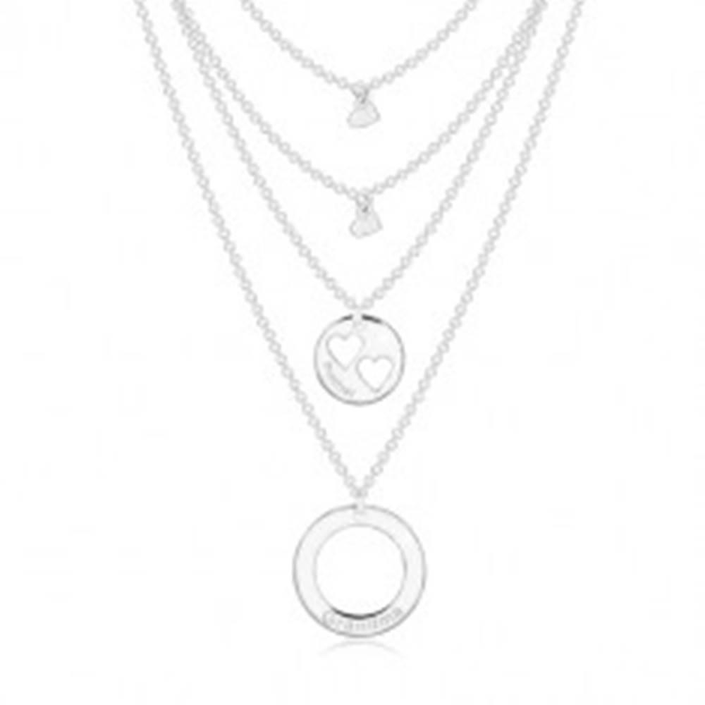 Šperky eshop Strieborný náhrdelník 925 - štyri retiazky s príveskami, kruhy a srdiečka, nápisy