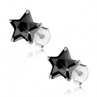 Puzetové strieborné náušnice 925, čierna zirkónová hviezdička, 8 mm
