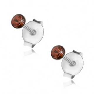Strieborné 925 náušnice, okrúhly oranžovočervený krištálik Swarovski, 2,5 mm