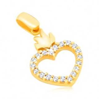 Zlatý 14K prívesok - obrys srdca so zirkónmi a s korunkou