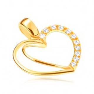 Zlatý prívesok 14K - srdce so zdvojeným obrysom a zirkónmi