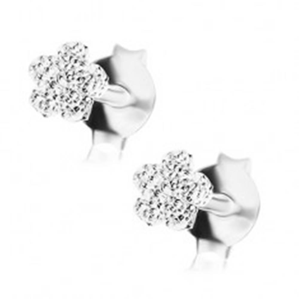 Šperky eshop Ligotavé náušnice, striebro 925, plochý kvietok s gravírovaným povrchom