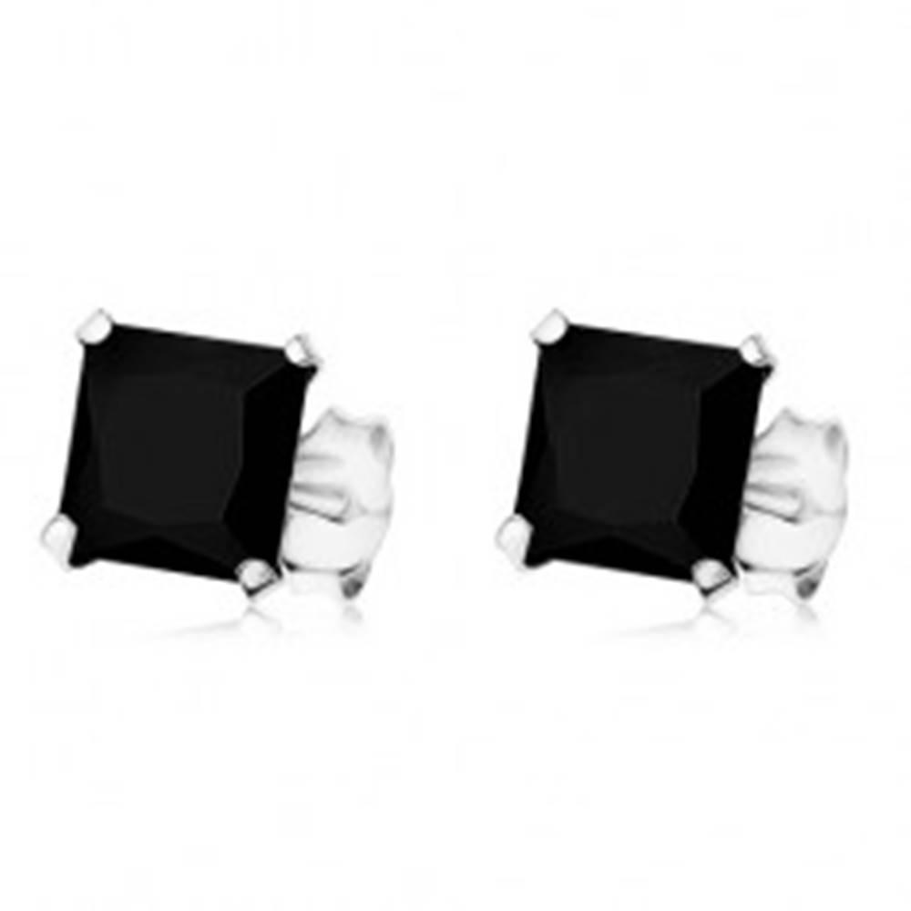 Šperky eshop Náušnice zo striebra 925, čierny štvorcový zirkón, puzetky, 7 x 7 mm