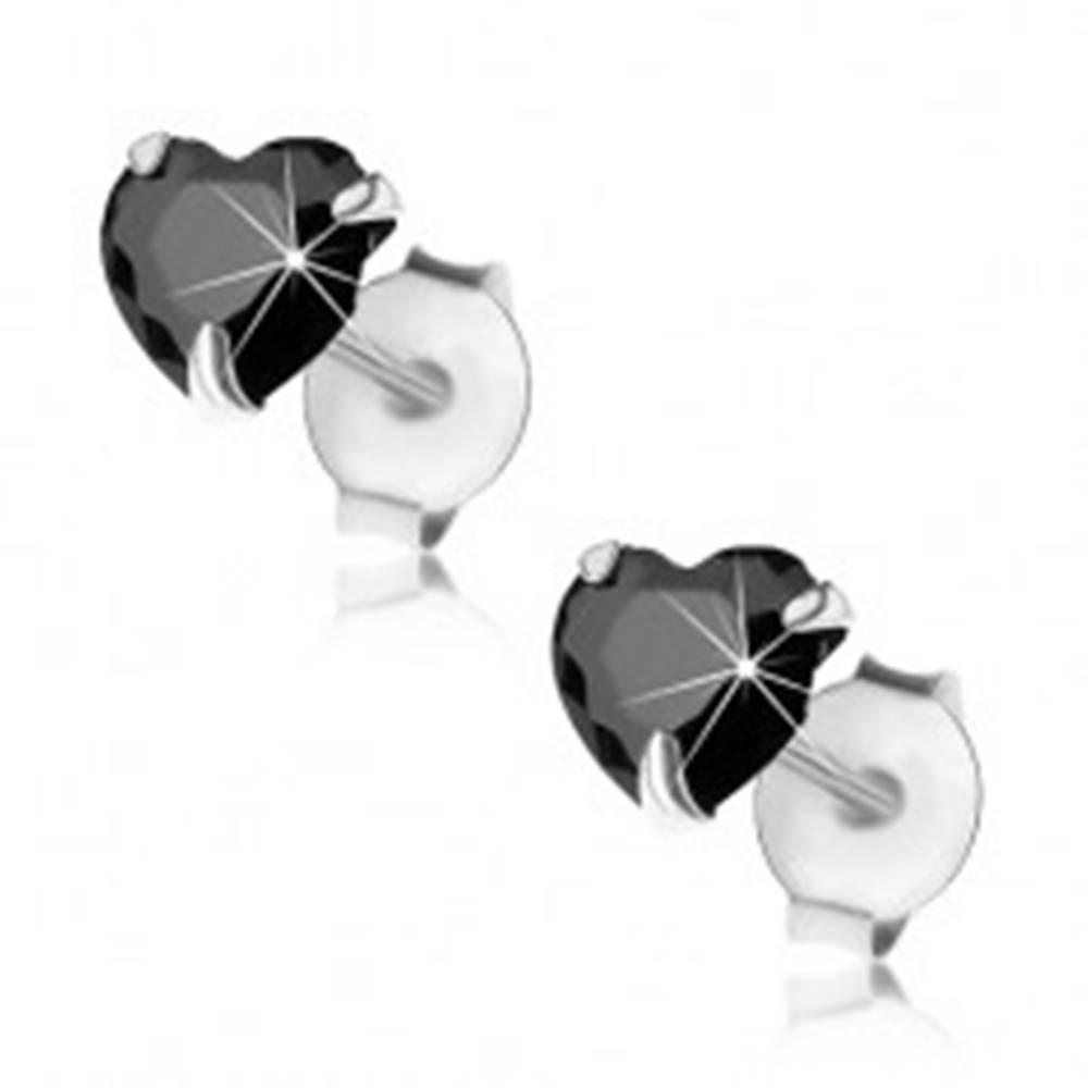 Šperky eshop Náušnice zo striebra 925, puzetky, čierny brúsený zirkón - srdiečko, 5 mm