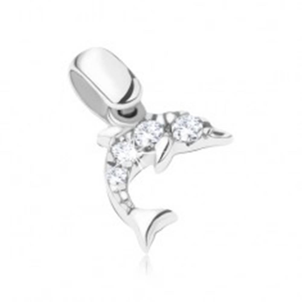 Šperky eshop Prívesok z bieleho 14K zlata - delfín so štyrmi čírymi zirkónmi