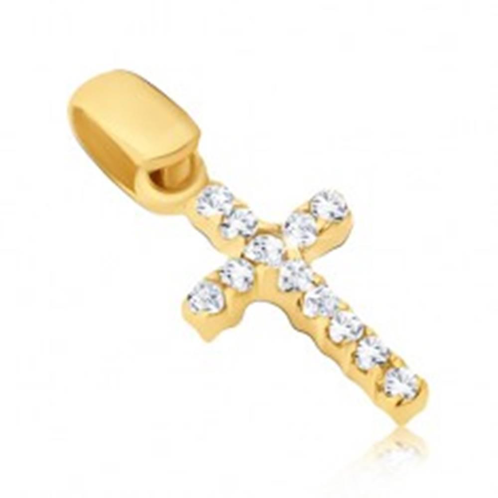 Šperky eshop Prívesok zo 14K zlata - drobný krížik so zirkónmi z oboch strán