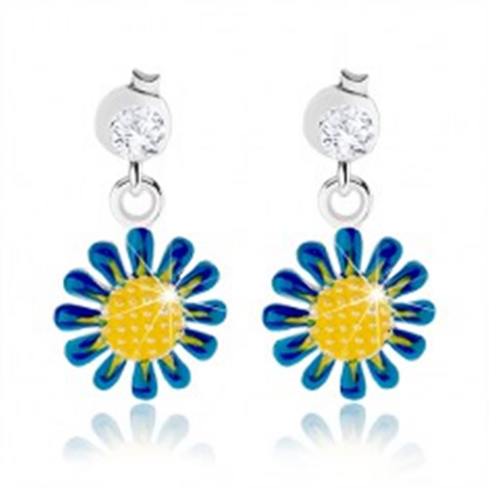 Šperky eshop Puzetové náušnice, striebro 925, visiaci kvietok žlto-modrej farby, číry zirkón