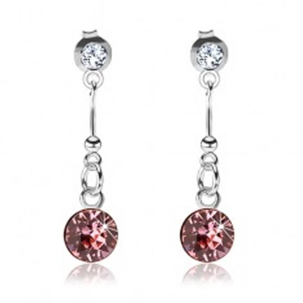 Šperky eshop Strieborné 925 náušnice, číry a ružový Swarovského krištáľ, palička