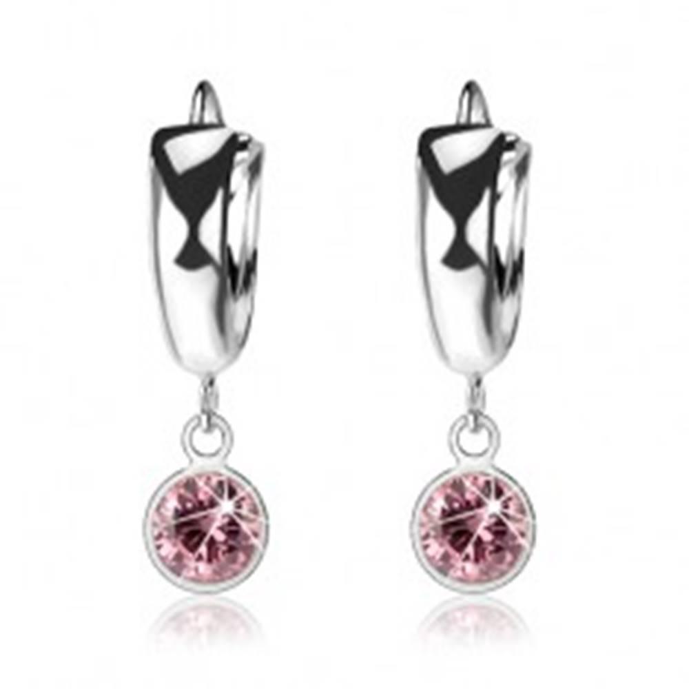 Šperky eshop Strieborné 925 náušnice, hladký krúžok, svetloružový zirkón v objímke
