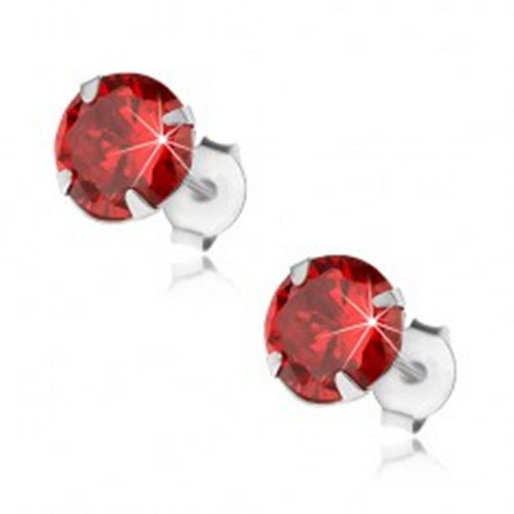 Šperky eshop Strieborné 925 náušnice, okrúhly zirkón červenej farby, 7 mm