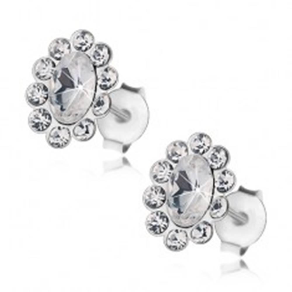 Šperky eshop Strieborné 925 náušnice, oválny kvietok z čírych Preciosa krištáľov, puzetky