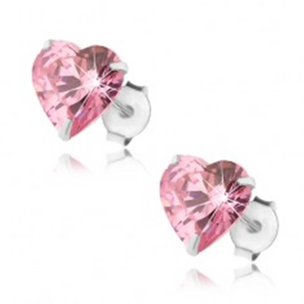 Šperky eshop Strieborné 925 náušnice, srdiečkový zirkón ružovej farby, puzetky