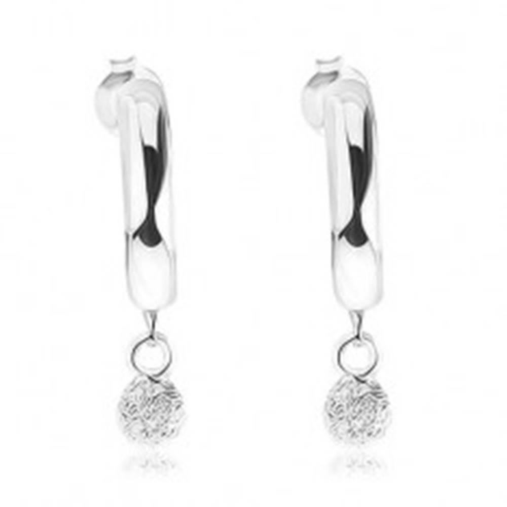 Šperky eshop Strieborné náušnice 925, lesklé neúplné kruhy, trblietavá guľôčka, puzetky