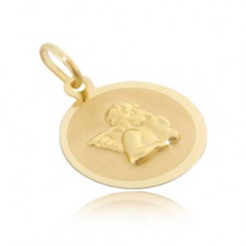 Šperky eshop Zlatý 14 karátový okrúhly prívesok - matný povrch s 3D anjelom